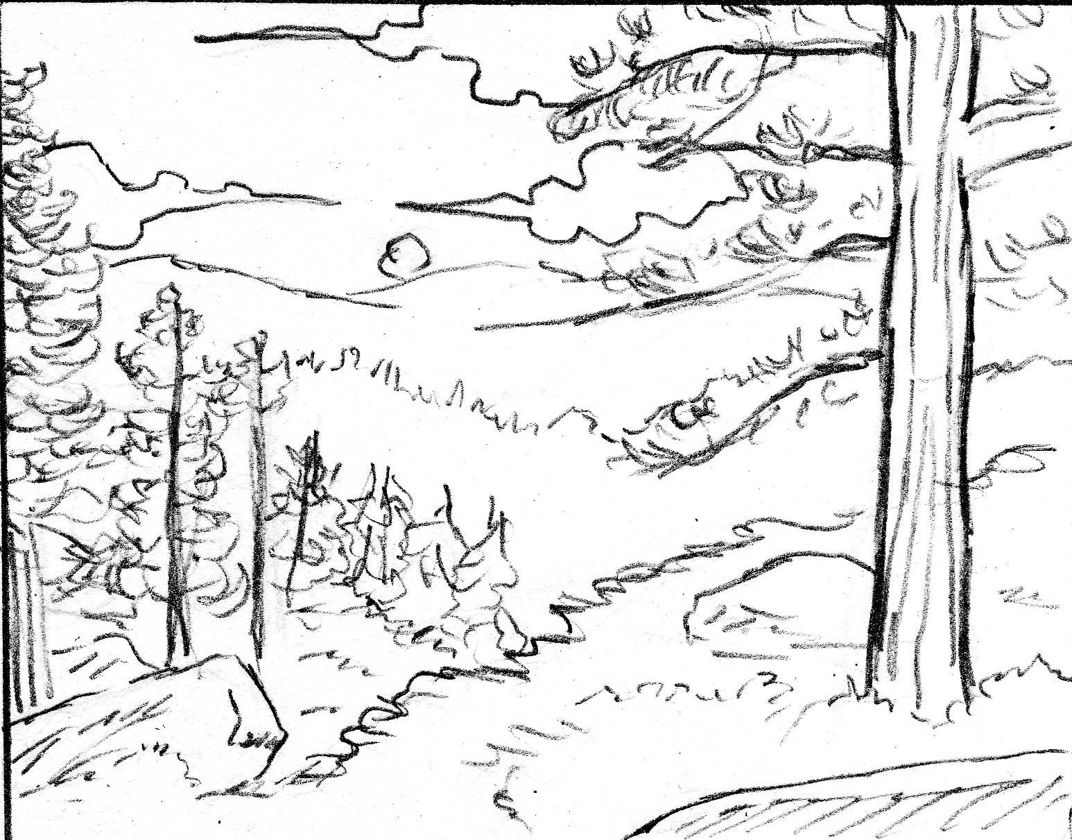 Dibujos Para Colorear De Un Paisaje: Dibujo De Paisaje Con Lineas