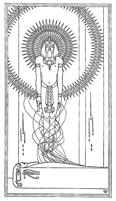 a Claude Bragdon 1921 drawing of an Egypt King rising from tomb