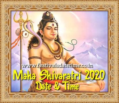 Maha Shivaratri 2020 Date & Time in India - महाशिवरात्रि 2020 तारीख और समय  - মহা শিভরাত্রি 2020 তারিখ আর সময়