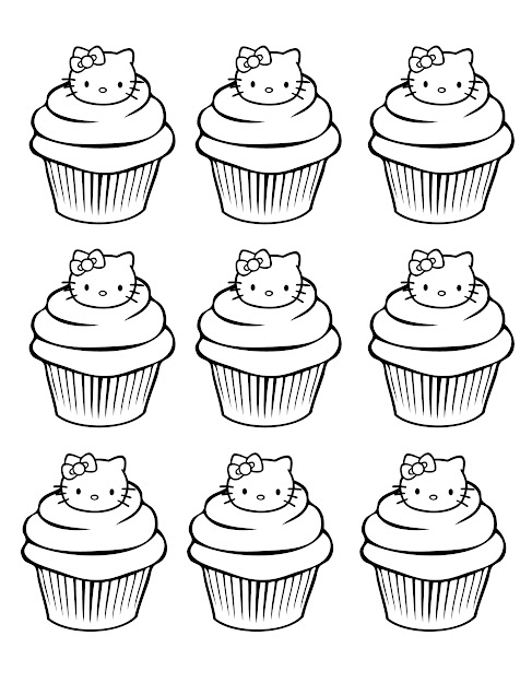 Coloring Page Of Sweet Hello Kitty Cupcakes  From The Gallery  Cup Cakes