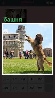 падающую башню поддерживает стоящая на задних лапах собака