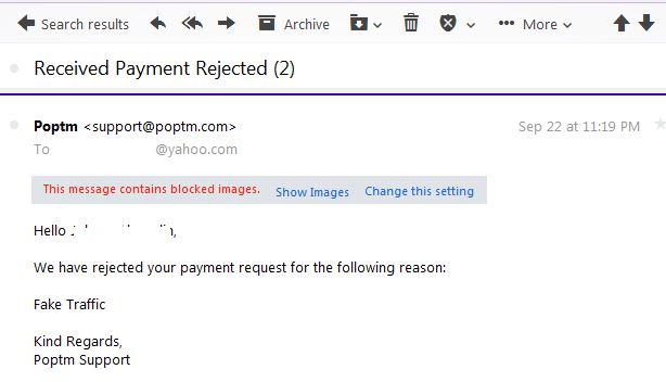 Email dari poptm tentang penolakan pembayaran