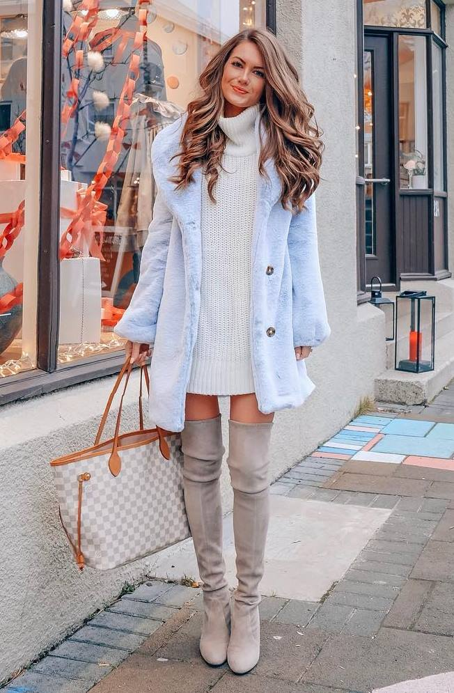 incredible outfit idea / blue fur coat + hat + bag + sweater dress + over knee boots