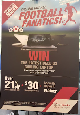 Keppel Electric is recruiting customers with a Dell gaming laptop as an incentive and a headline addressed to football fanatics.