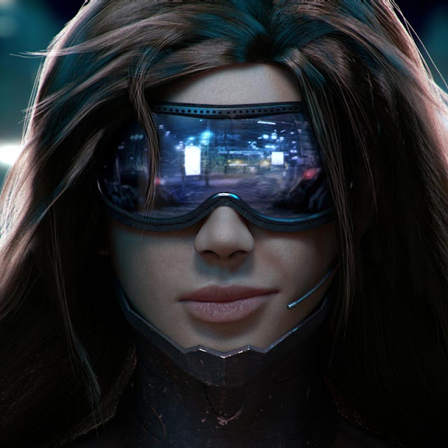 Futuristic Girl With Glasses Wallpaper Engine