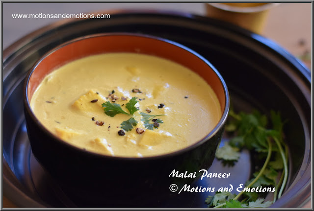 Panner cooked in Malai or fresh cream
