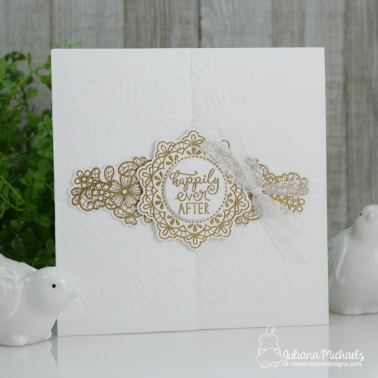 Wedding Card by Juliana Michaels | Wedding Frills Stamp Set & NEW Floral Lace Stencil by Newton's Nook Designs #newtonsnook #handmade