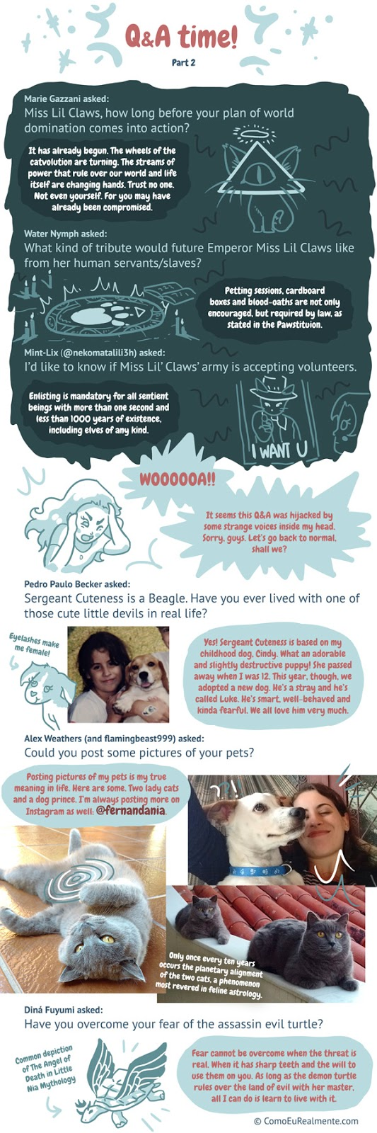 a bunch of questions readers asked me about my pets, miss little clawses, my family and how I started drawing