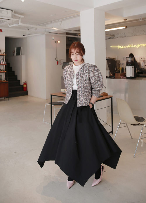 Self-Tie Belt Handkerchief Hem Skirt