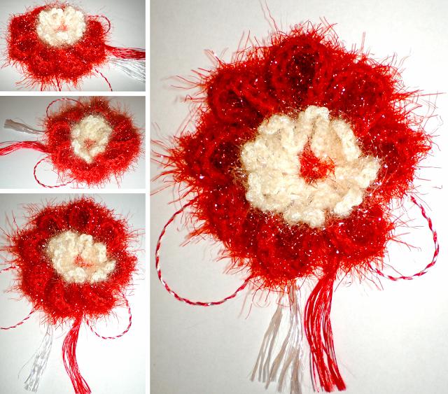mărțișor croșetat floare tricotat