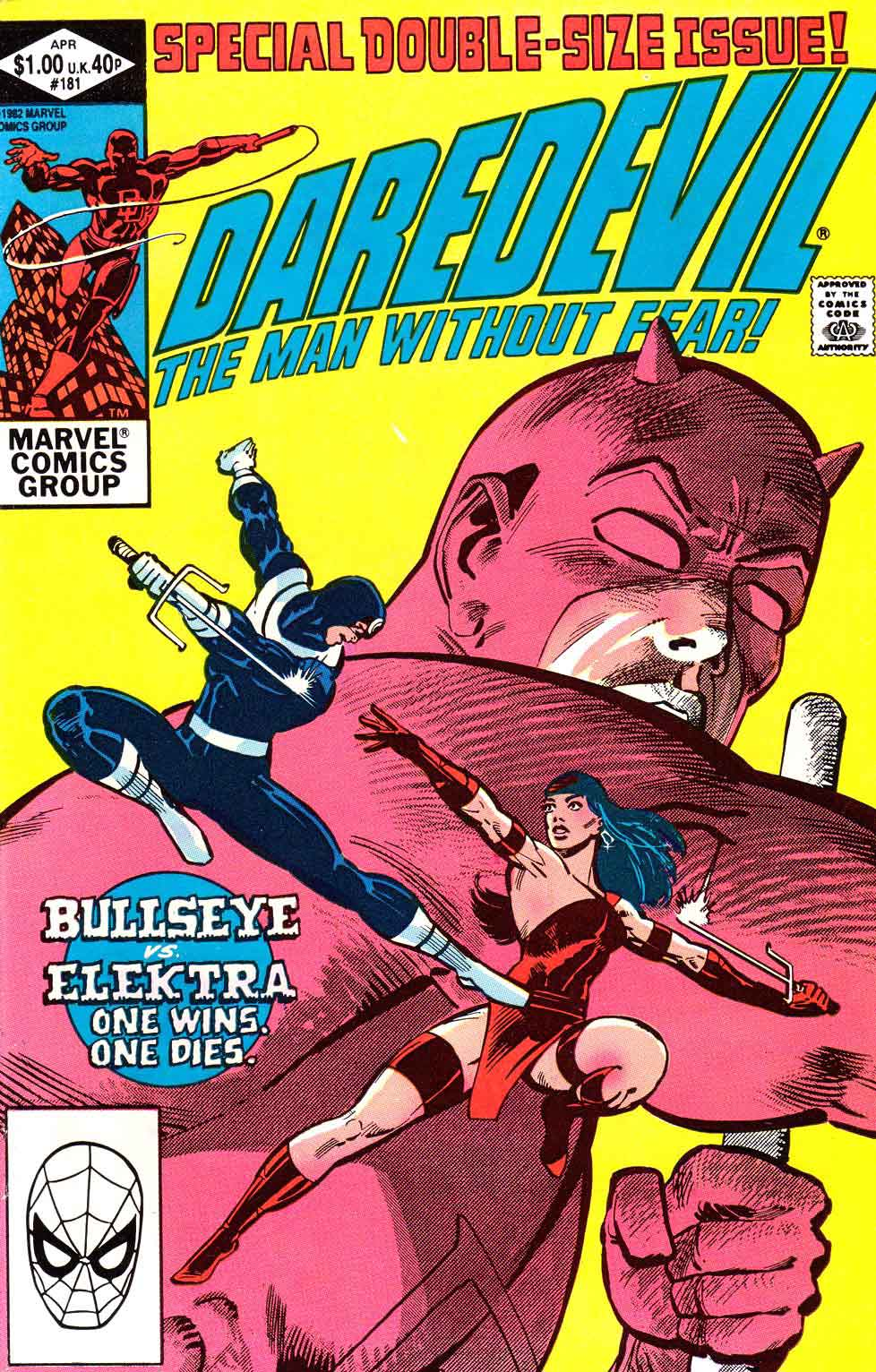 Daredevil v1 #181 elektra bullseye marvel comic book cover art by Frank Miller