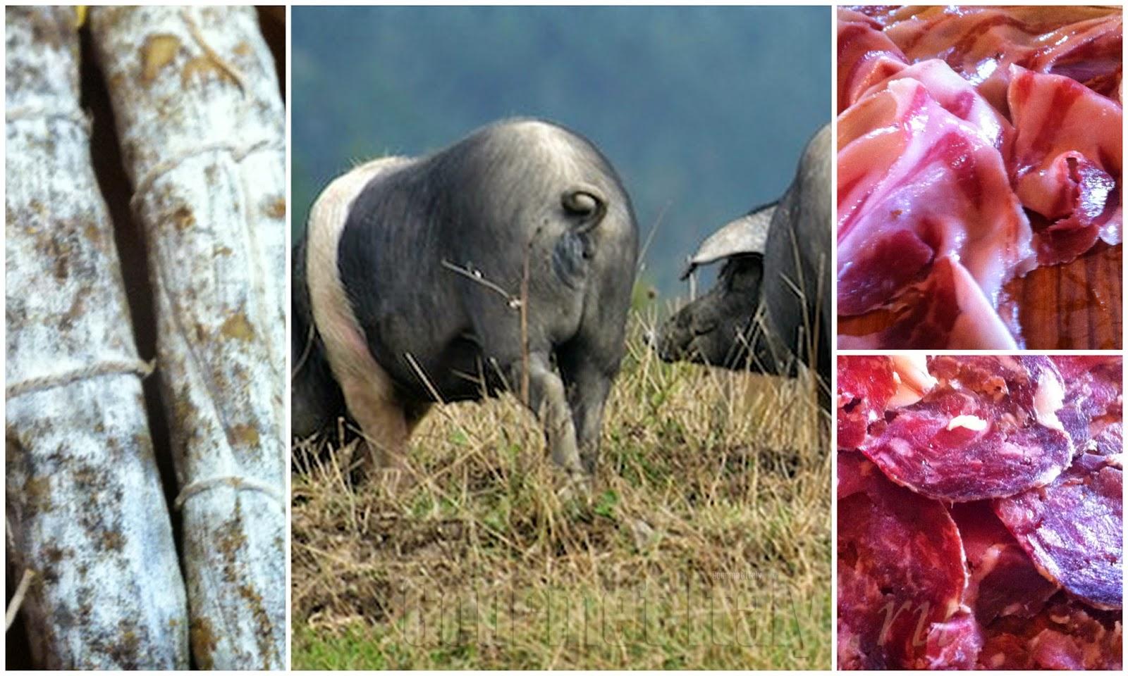 колбаса и ветчина из тосканских черных свиней