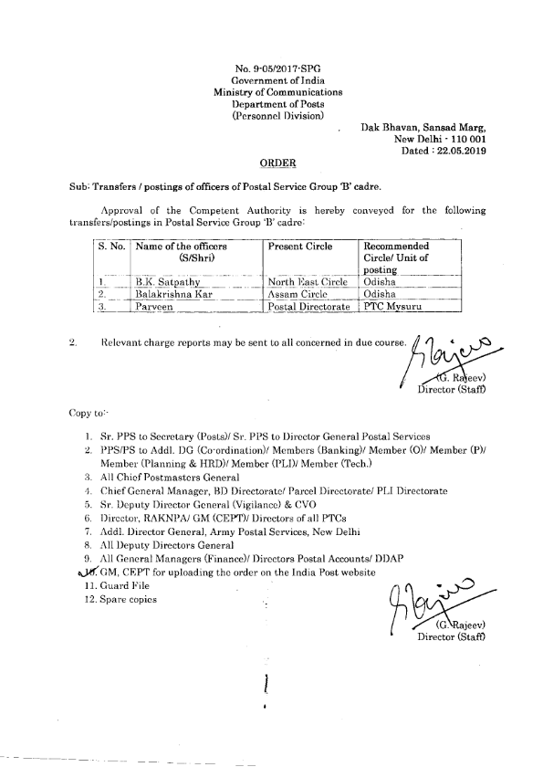 transfer of Group B officer in department of posts