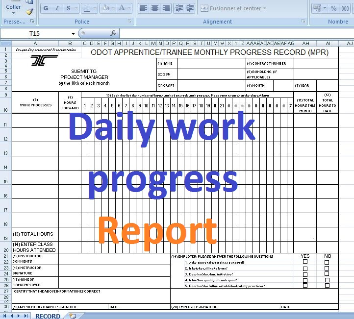 Daily work progress report format - Excel templates