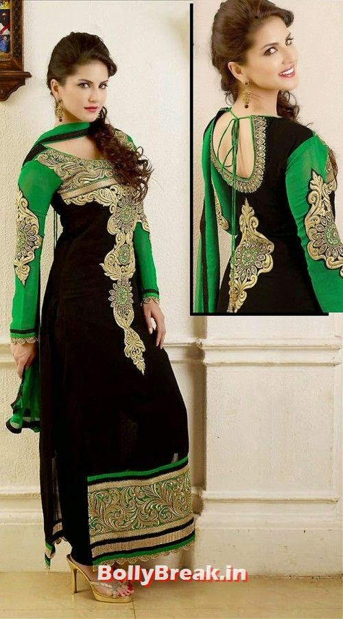 Sunny Leone in green and black Anarkali, Sunny Leone Anarkali Churidar Pics, Sunny Leone in Indian Clothes