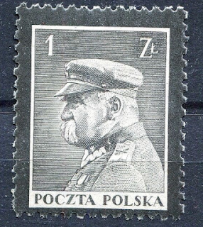 Poland: Józef Klemens Piłsudski Mourning stamps with black edges/perforations