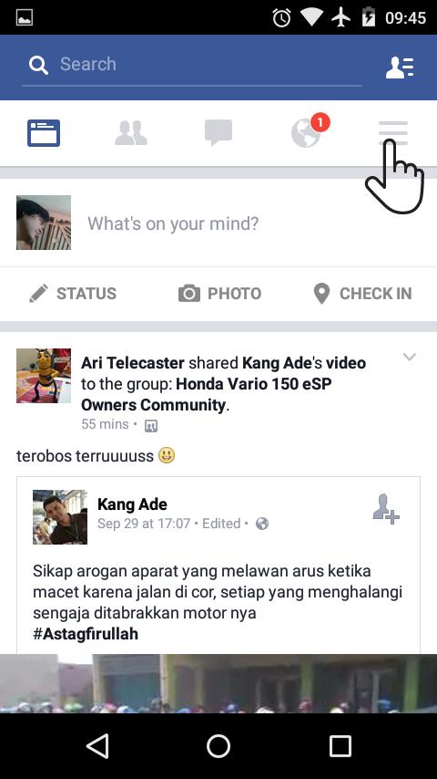 Menu Facebook