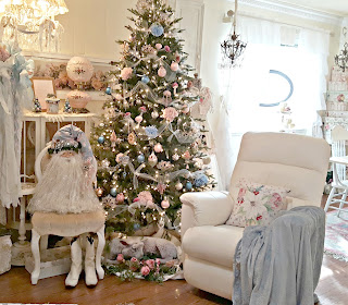 pink blush and pale blue Christmas tree and decorations