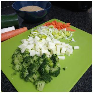 foto de la zanahoria, el puerro, el calabacín y el brócoli ya cortados