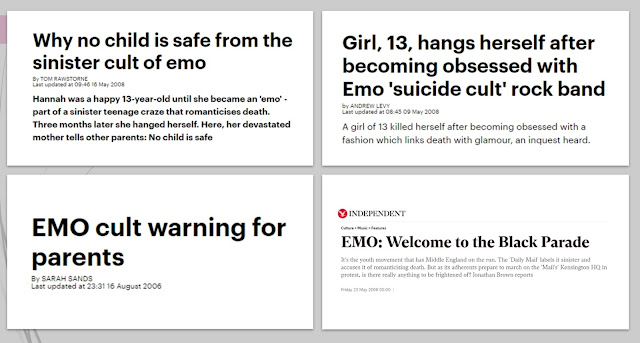"Headlines from 2006 that warn of the ""sinister"" ""cult"" of emo, and the threat is poses to teenagers."