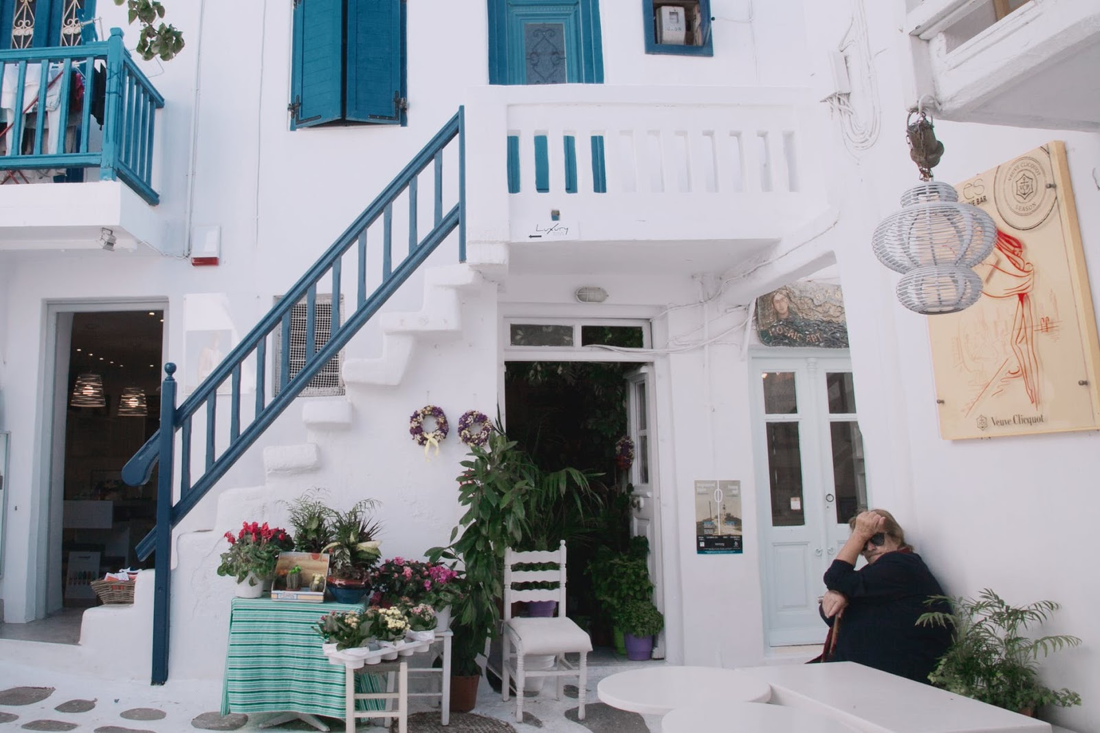 pretty white and blue building in Mykonos, Greece