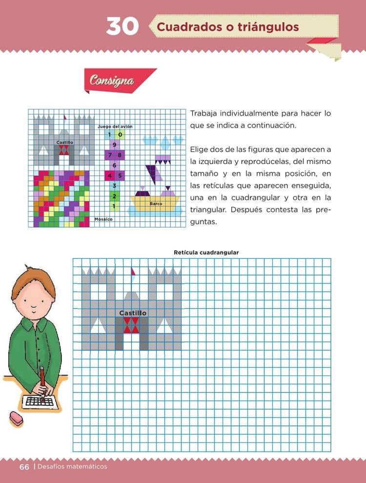 Cuadrados o triángulos -Desafío 30- Desafíos Matemáticos Quinto grado Contestado