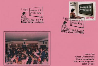 Tarjeta del matasellos PDC del sello del homenajea a la Escuela Rural. Ibias