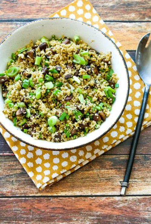 Quinoa Side Dish with Mushrooms, Green Onions, and Parmesan found on KalynsKitchen.com