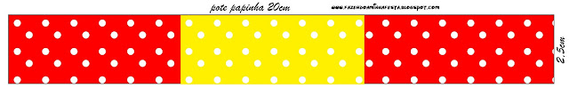 Etiquetas de Rojo, Amarillo y Lunares Blancos para imprimir gratis.