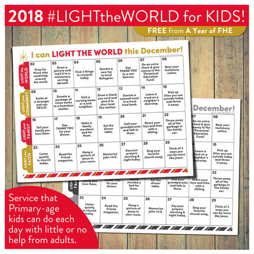 A Year Of Fhe Lds Light The World 2018 Children S Service Calendar