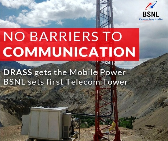 BSNL has set up the first mobile tower in DRASS - 'the 2nd coldest inhibited place on Earth' at a height of 11,000 feet above sea level