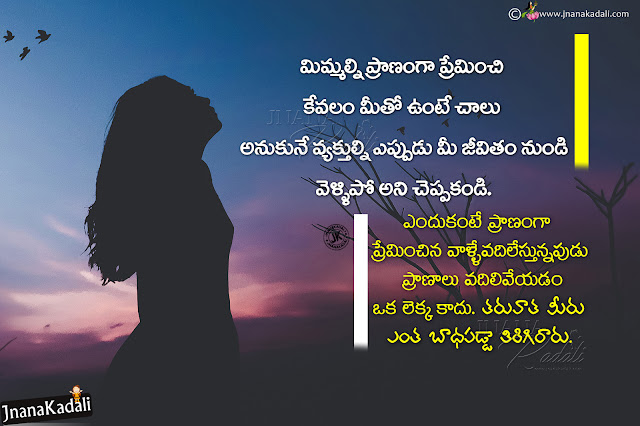 telugu most satisfying words on life, don't blame your loved one quotes in telugu, telugu best messages on life