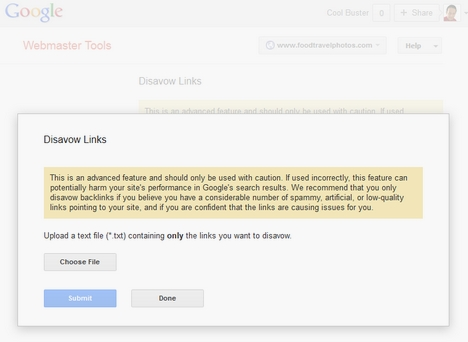 Google Webmaster Tools Disavow Links Feature