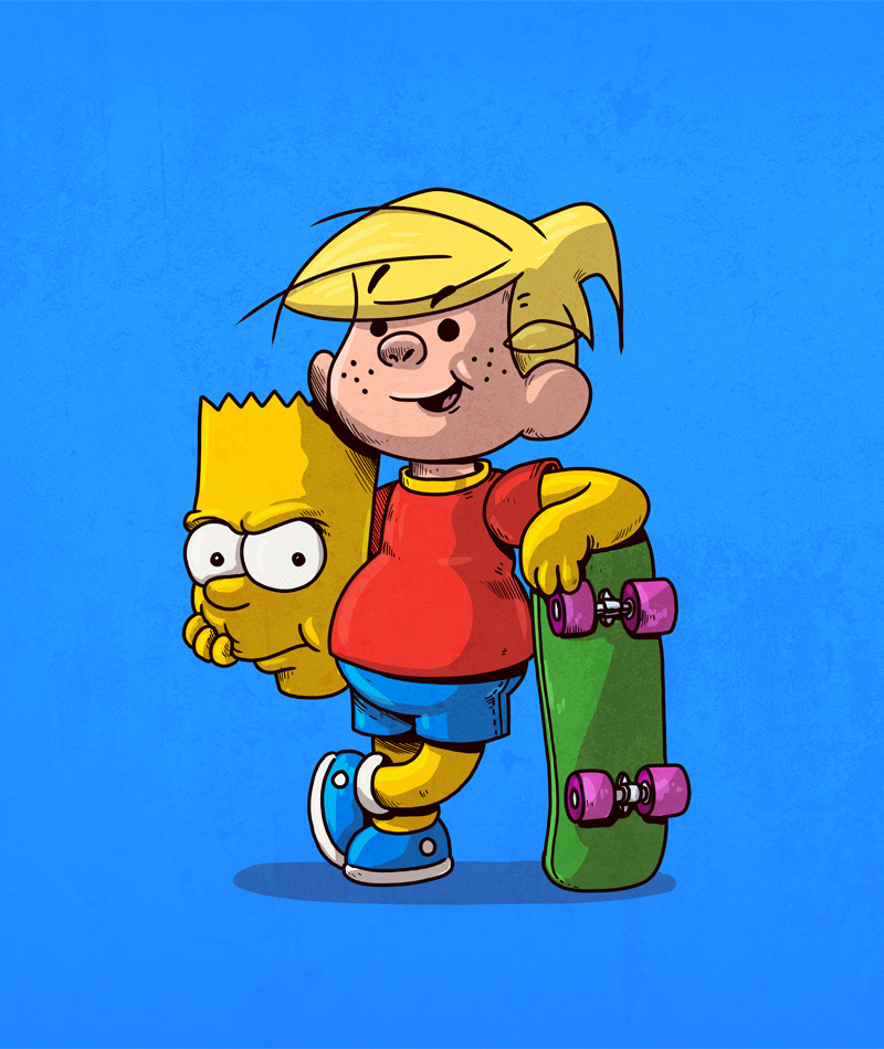 07-Bart-Simpson-and-Dennis-the-Menace-Alex-Solis-Illustrations-of-Icons-Unmasked-www-designstack-co