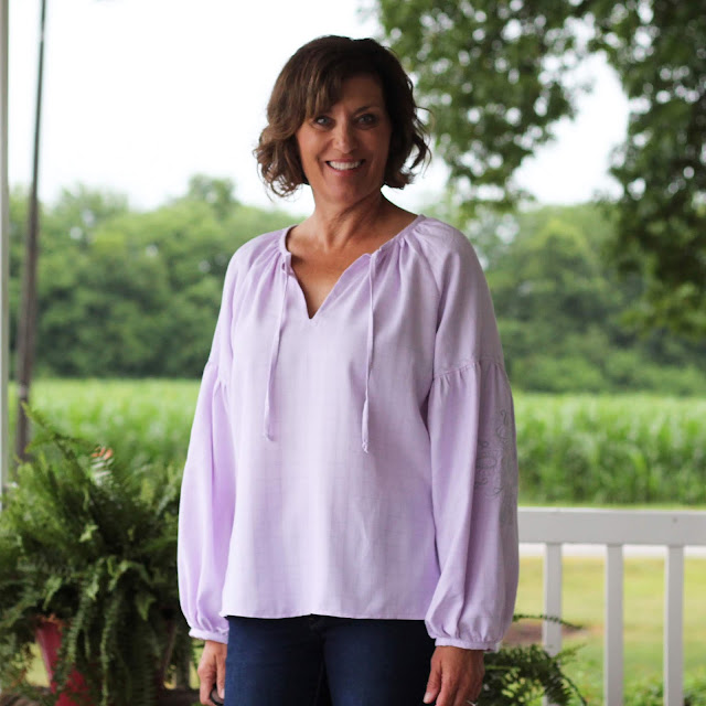 Roscoe Blouse with dramatic sleeves, embroidered with Pfaff Creative Icon