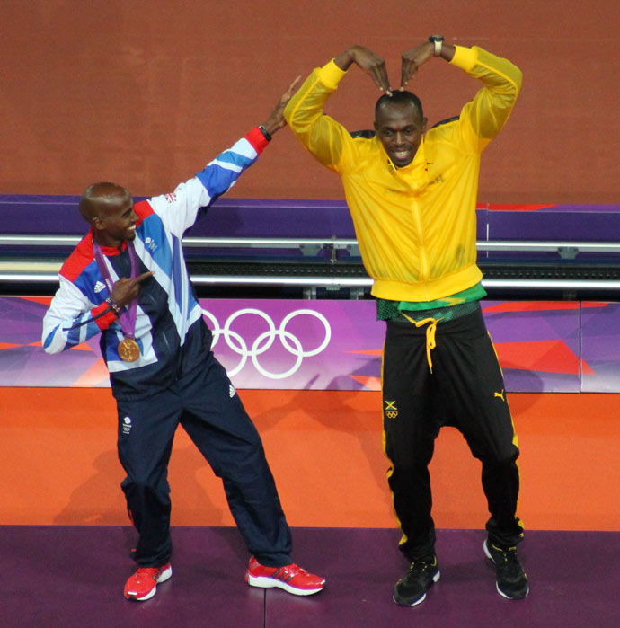 London Olympics 2012 #3: Mo Farah and Usain Bolt swap poses