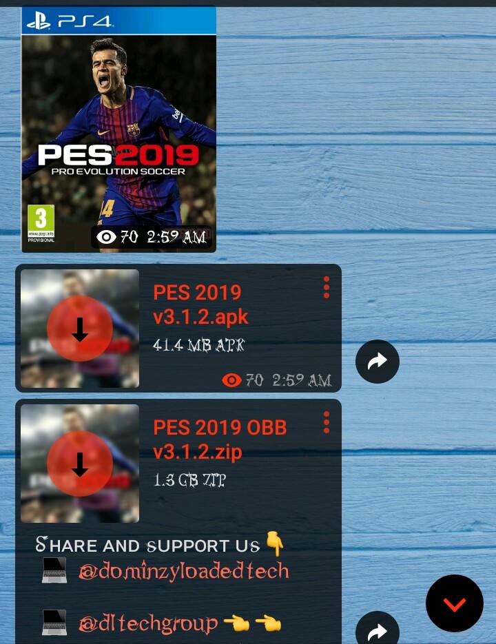pes 2019 download free apk