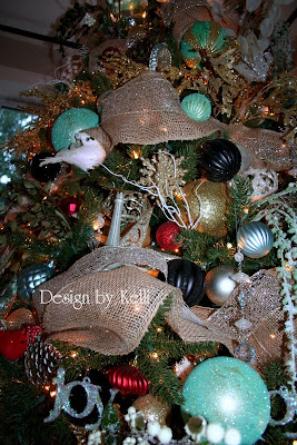 Christmas decor, decorating, red, blue, turquoise, black