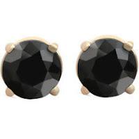1 1/2 ct 14k Yellow Gold Round Black Diamond Stud Earrings Heated