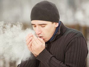 cold weather because breathing cold air through the mouth canCold Breath In Winter