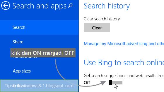 menghilangkan hasil pencarian bing di search charm windows 8.1