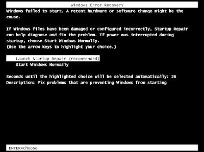 Cara Memperbaiki Windows Error Recovery Pada Windows 7 Tanpa CD
