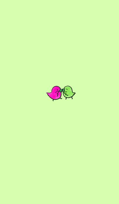 Good friend little bird couple PinkGreen