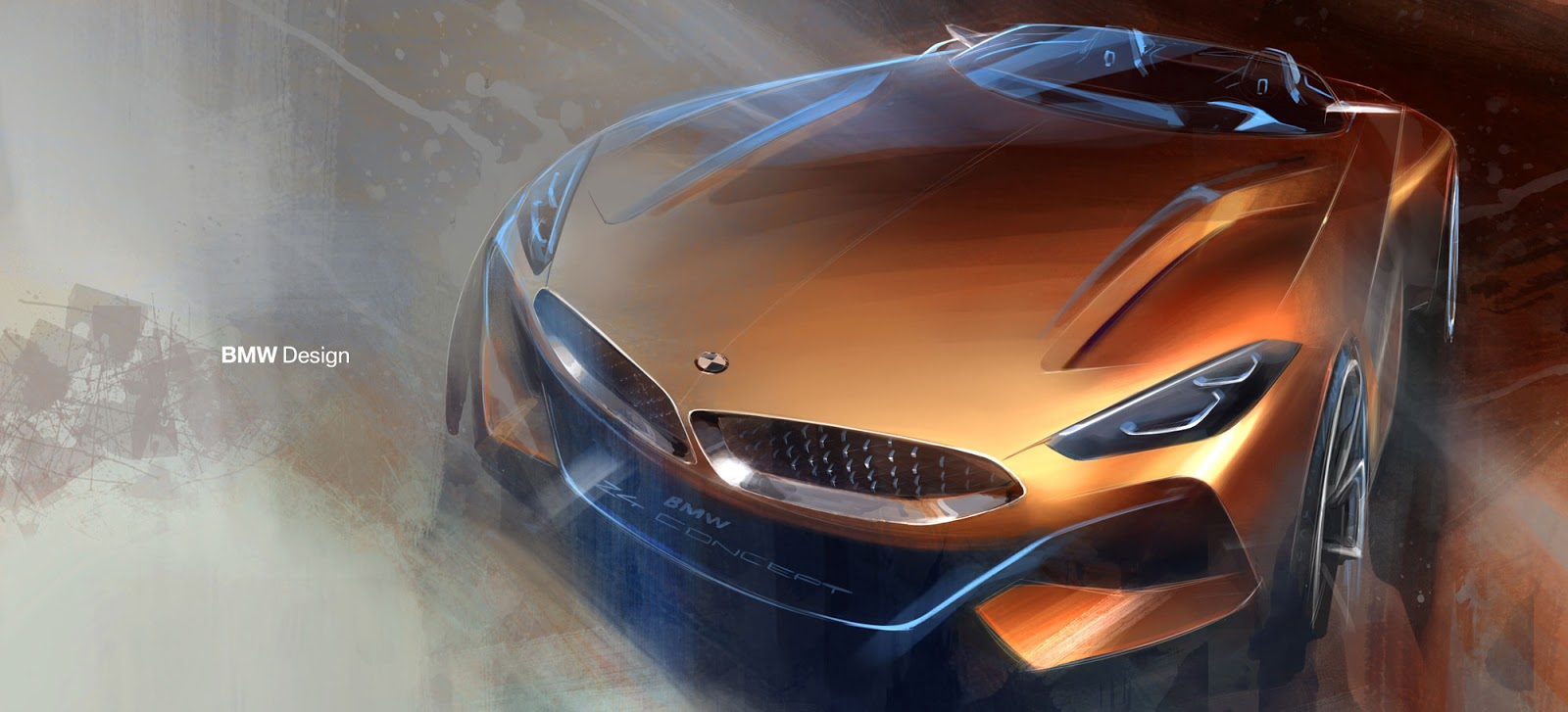 BMW Z4 sketch by Calvin Luk nose-on view