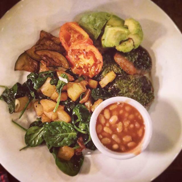 vegan brunch spinach mushrooms
