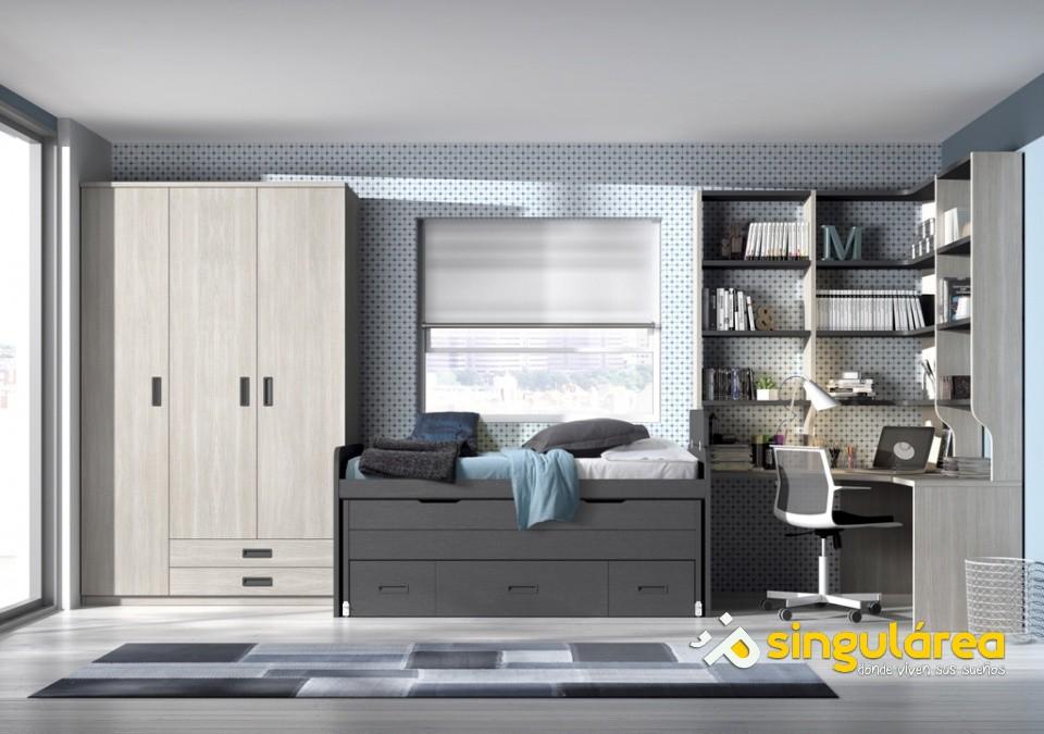Dormitorio juvenil compacto bicama 2600 for Fotos habitaciones juveniles