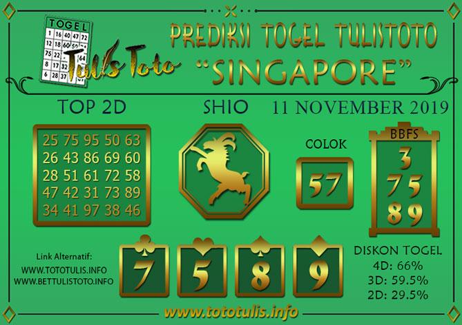 Prediksi Togel SINGAPORE TULISTOTO 11 NOVEMBER 2019