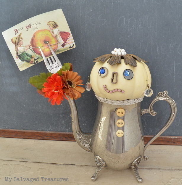 make a unique pumpkin people creation with vintage trinkets and silver