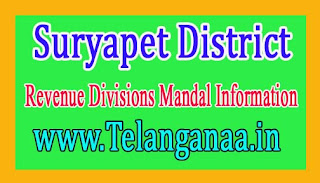 Suryapet District Revenue Divisions Mandal Information