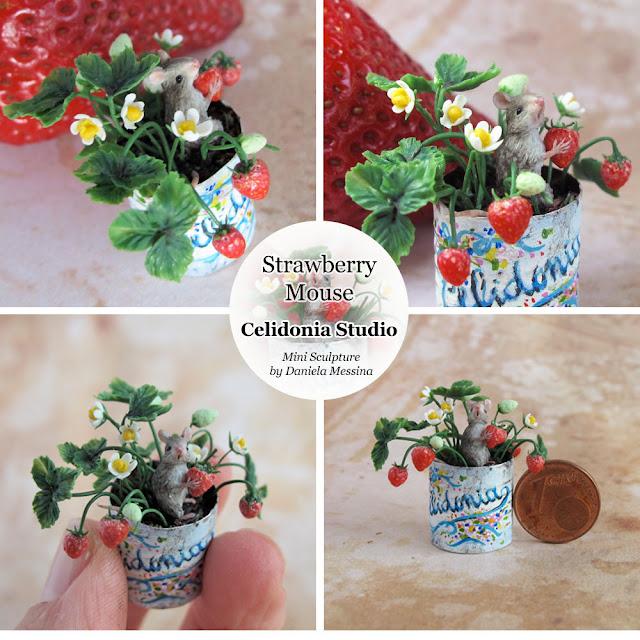 Topino nel Vaso di Fragole - Miniatura OOAK modellata in Pasta Sintetica